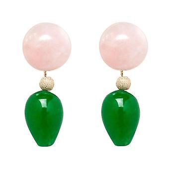 Gemshine brincos quartzo rosa e verde jade gemstone Drops-banhado a ouro