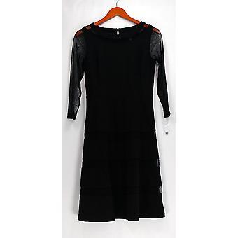 Dennis Basso kjole med mesh-og ermer svart A271206