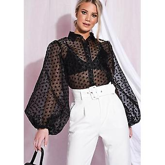 Sheer polka dot organza bluse Top sort