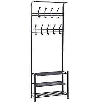 HOMCOM Multi-purpose Metal 18 Hooks Coat Hook 3 Tier Shoes Rack Stand Hat Clothes Organizer Umbrella Stands Entryway Hanger Hall Shelves (Black)