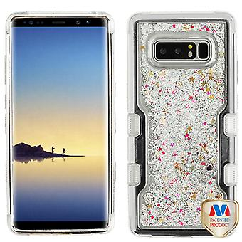 MYBAT Silver Electroplating/Silver Sparkles Liquid Flowing TUFF Quicksand Glitter Hybrid Case for Galaxy Note 8
