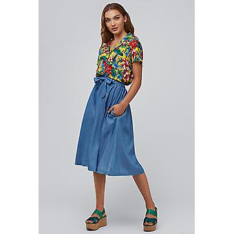 Louche Matilda Chambray Skirt Blue