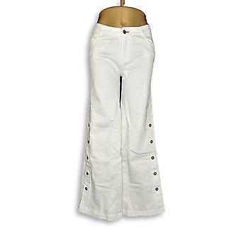 Peace Love World Women's Pants Denim Button White A305562