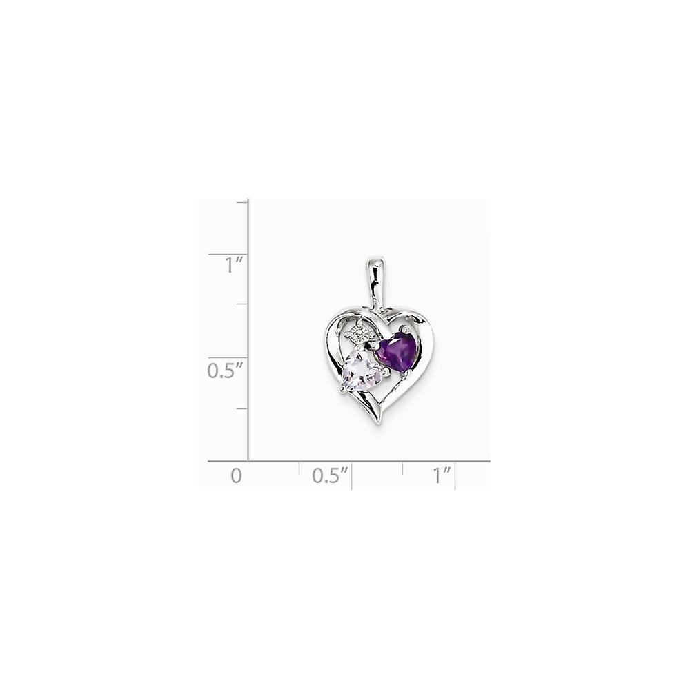 925 Sterling Silver Polished Prong set Open back Amethyst and Pink Amethyst And Diamond Pendant Necklace Jewelry Gifts f