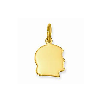 14k Gold Plated Solid Polished Small Engravable Girls Head Charm Pendant Necklace Jewelry Gifts for Women
