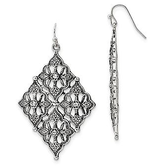 Plata tono pastor gancho cristal claro diamante en forma de gota larga colgante pendientes regalos de joyería para las mujeres