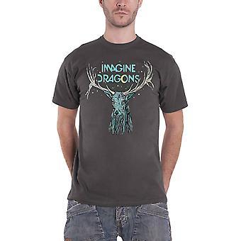 Imagine Dragons T Shirt Elk in Stars Band Logo new Official Mens Charcoal Grey
