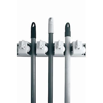 Mop und Besen Halter hält 10 Brooms oder Mops mit Duster Haken - Twin Pack