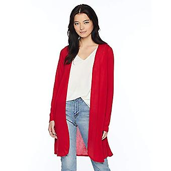 Star Vixen Women's Petite Long Sleeve Lightweight Mesh Open Cardigan, red Sol...