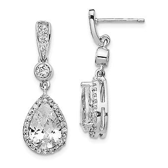925 Sterling Silver Rhodium plated Pear CZ Cubic Zirconia Simulated Diamond Dangle Post Earrings Jewelry Gifts for Women