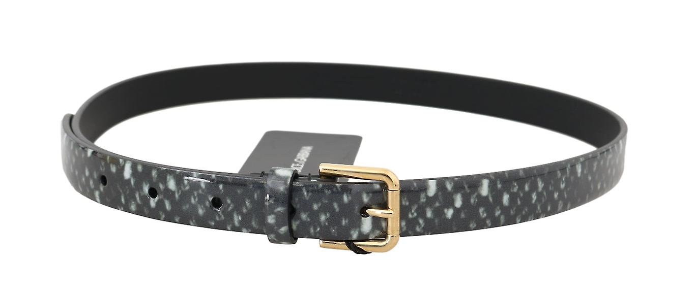 Black White Pattern Leather Gold Buckle Belt