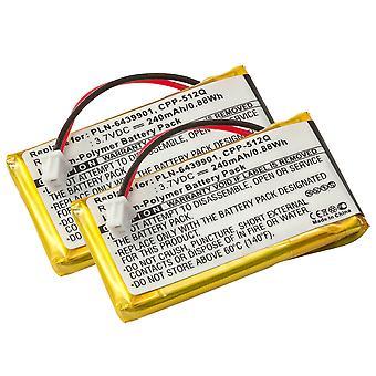 Akku 2-Pack Plantronics CS50, CS55, HL10, kuuloke mikrofonit 65358-01, 64399-01-230mAh 2x