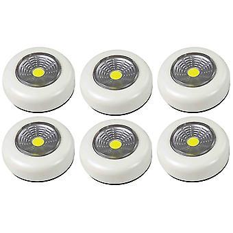 6X Arcas Push Light COB LED - 18X batterie di tipo AAA, colore bianco