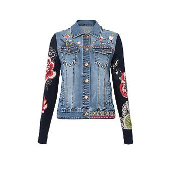 Desigual Women's Exotic Classic Floral Embroidery Blue Denim Jacket