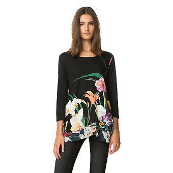 Desigual المرأة & أبوس؛s كورتني طويلة الأكمام الأزهار قميص الأعلى