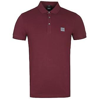BOSS Passagier Slim Fit Burgund Pique Polo Shirt