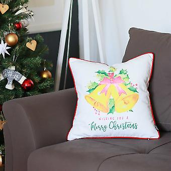 """18""""x18"""" Christmas Bells Printed Decorative Throw Pillow Cover"""