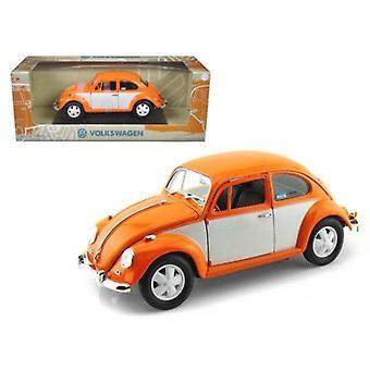 1967 Volkswagen Beetle Orange/White 1/18 Diecast Model Car par Greenlight