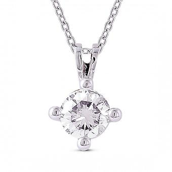 Eternity 9ct White Gold 4 Griffe 0.20 Carats Solitaire Diamond Pendant And Chain (Certifié)