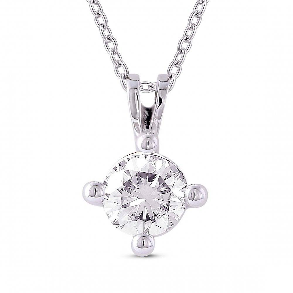 Eternity 9ct White Gold 4 Claw 0.20 Carats Solitaire Diamond Pendant And Chain (Certificated)
