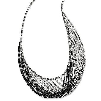 925 Sterling Silver Rhodium and Ruthenium plated Multi Strand With 2inch Ext. Necklace 18 Inch Jewelry Gifts for Women