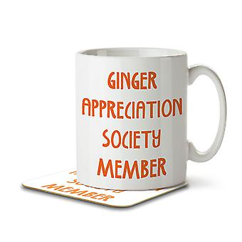 Ginger Appreciation Society Member - Mug and Coaster