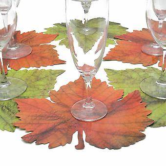 6 glass coasters motif vine leaf