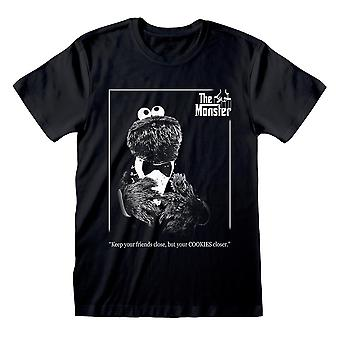 Men's Seesam Street Cookie The Monster Musta T-paita - Kummisetä Tyyli Tee