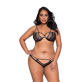 Womens Plus Size Sheer Lace and Mesh Bra Set Cut Out Keyhole Top Lingerie