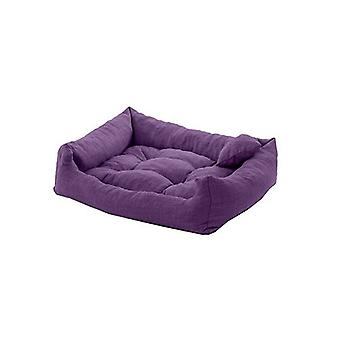 Pet Klub Purple 75cm x 65cm Large Sized Foam Crumb Filled Tufted Dog Bed in Textured Lnu Feel Fabric