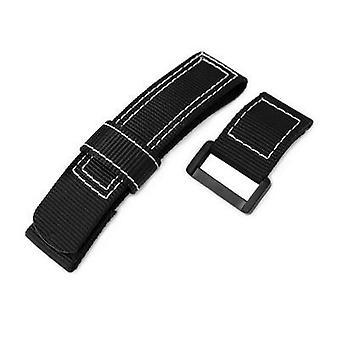 Strapcode kardborreband 20mm, 22mm eller 24mm miltat svart nylon kardborreband klockarmband, vit sömmar, pvd svart spänne