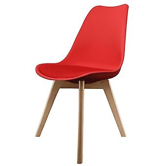 Fusion Living Eiffel Inspired Red Plastic Dining Chair With Squared Light Wood Legs