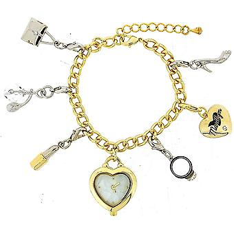 Légendes d'Hollywood Marylin Monroe Goldtone Charm Bracelet Fashion Watch W27/28M