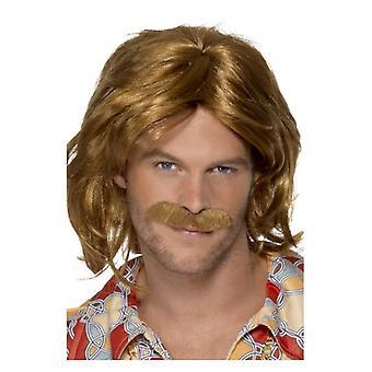 Hombres de los años 70 Super Trouper peluca & bigote accesorio de disfraces