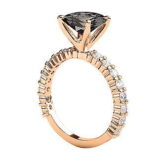 1,90 CTW 14K Rose Gold sorte diamant Ring med diamanter Princess Cut unikke