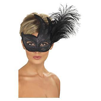 Womens zwarte sierlijke Colombina Feather masker Fancy Dress accessoire