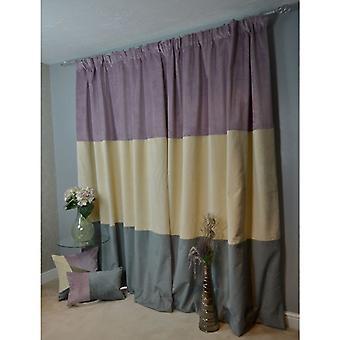 McAlister têxteis patchwork veludo roxo, ouro + cinza cortinas