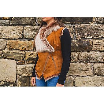 Nordvek Womens Toscana Sheepskin Gilet - Suede Lambskin & Fur Coller Bodywarmer # 717-100