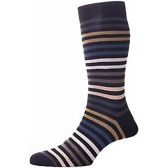 Pantherella Kilburn doppelte Farbe gestreift Baumwolle Lisle Socken - schwarz