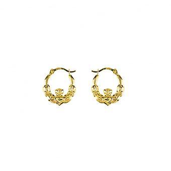 Eternity 9ct Gold Small 13mm Claddagh Créole Cerceau Boucles d'oreilles