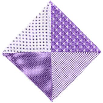 Michelsons of London 4 Pattern Silk Pocket Square - Lilac