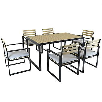 Charles Bentley Black Square Legs Strong Extrusion Aluminium Dining Set with 5cm Thick Cushion Polyester Industrial Style