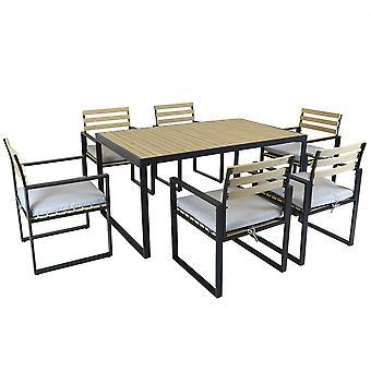 Charles Bentley schwarz Quadratische Beine starke Extrusion Aluminium Esszimmer Set mit 5cm dicke Kissen Polyester Industriestil