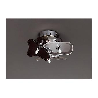 Ceiling / Wall Lamp Otto 3 Bulbs G4 Round, Polished Chrome / Frosted Glass / Black Glass
