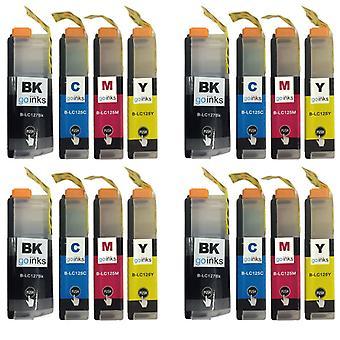 4 sæt blækpatroner til udskiftning af Brother LC127XL og LC125XL-kompatibel/ ikke-OEM-printere til Brother DCP og MFC-printere (16 trykfarver)