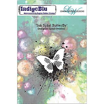"""IndigoBlu Cling Mounted Stamp 5""""X8""""-Ink Splat Butterfly"""