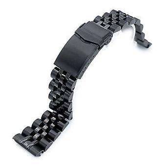 Strapcode klocka armband 22mm angus jubilee 316l rostfritt stål klocka armband för seiko sköldpadda srpc49k1, pvd svart, v-lås