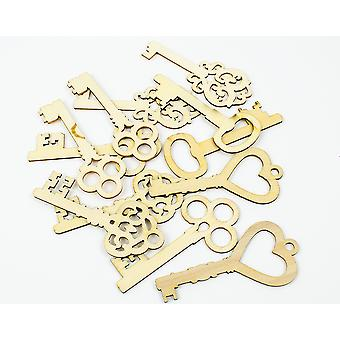 12 Assorted Natural Wooden Key Embellishments for Papercrafts