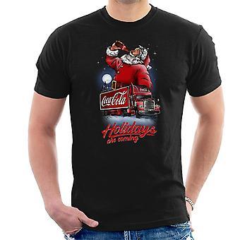 Coca Cola Santa e férias de caminhão estão chegando homens ' s T-shirt