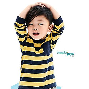 Simple Joys by Carter's Baby Boys' Toddler 3-Pack Long Sleeve Shirt, Yellow Stripe, Gray, White, 5T